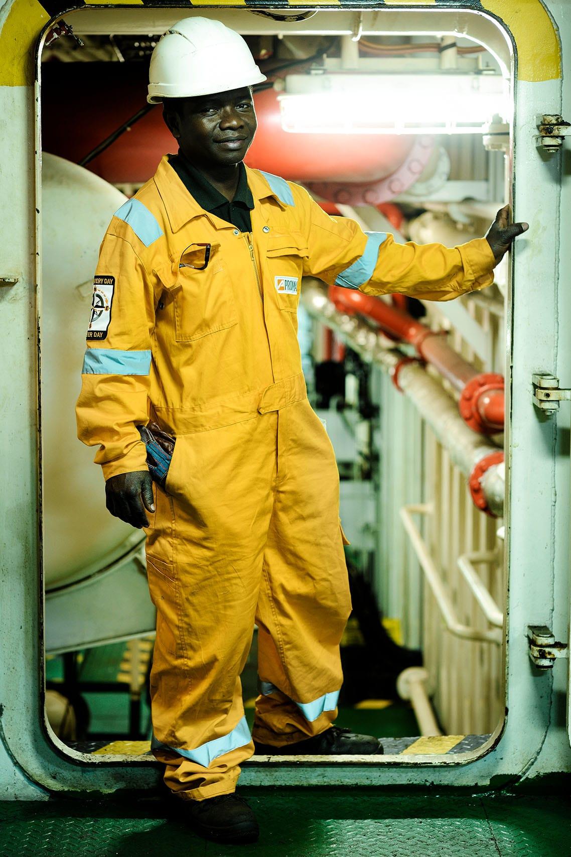 portrait industriel sur le mamona Serenity a Walvis Bay en Namibie par le Photographe corporate à Paris Patrick Sordoillet